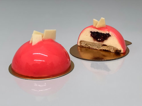 Raspberry and white chocolate entremet