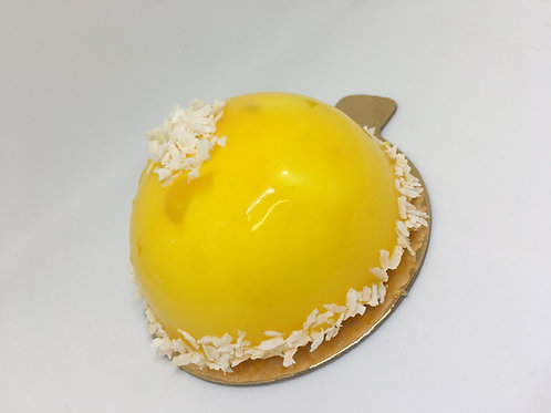 Mango, coconut and lime entremet