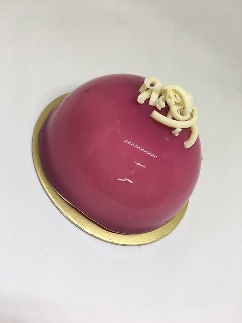 Blueberry, lemon and white chocolate entremet