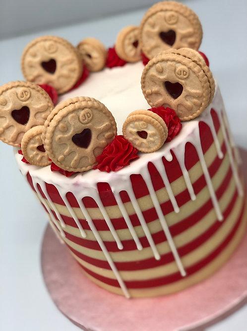 Jammy Dodger Drip Cake