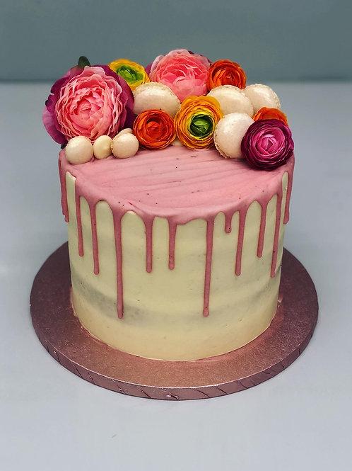 Flowers and Macaron Drip Cake