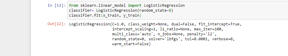 Logistic regression code in python