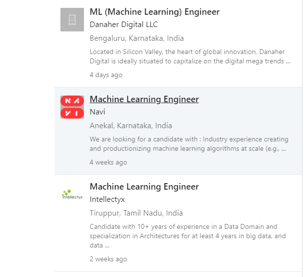 machine learning job offering company