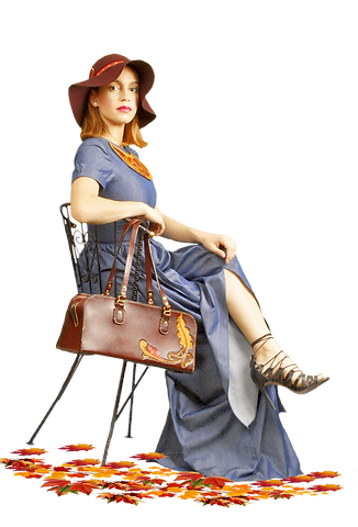 jandy leather, J&Y leather creations Autumn Leaves Colletion Handbags, carved handbags, real art