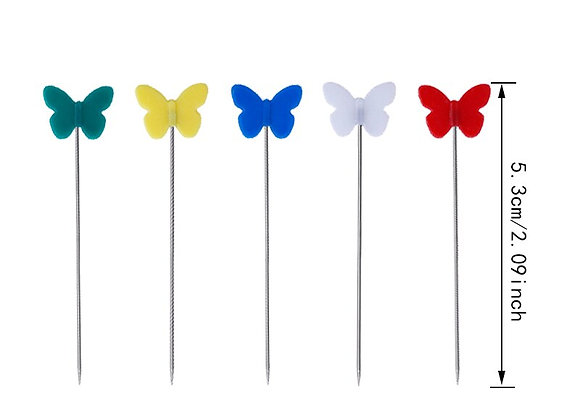 100Pcs Flat Head Butterfly Sewing Straight Pins