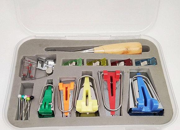 "Bias Tape Maker Kits All 5 Sizes 1/4"" 3/8"" 1/2"" 3/4"" 1"" Binding Tools"