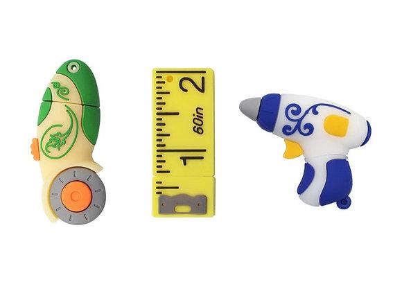 Rotary Cutter, Hot Glue Gun and Ruler USB Drives