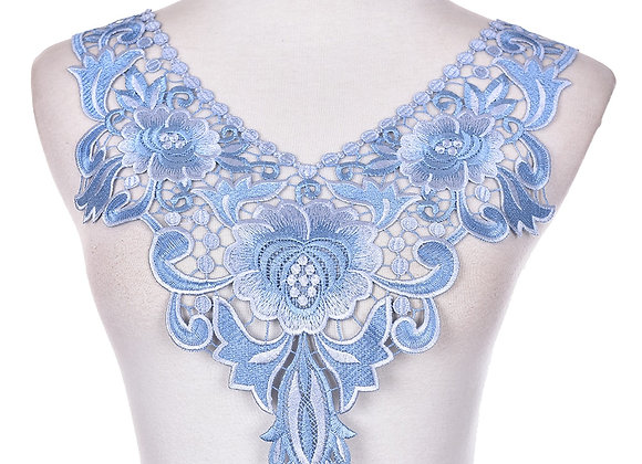 Embroidered Floral Lace Neckline Trim