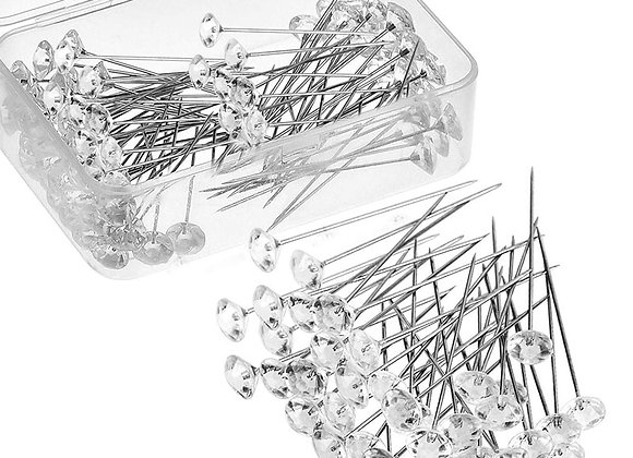 100 Pcs Sparkle Diamond Pins Crystal Head End
