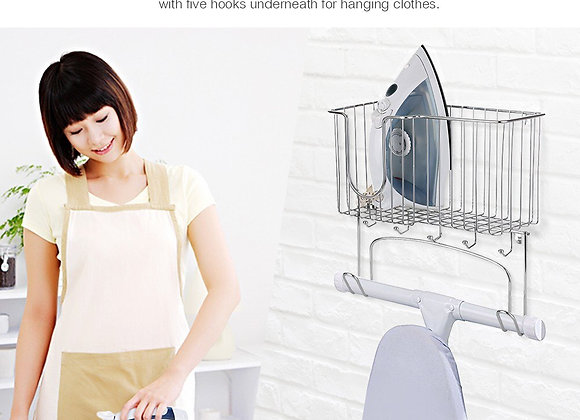 Metal Wall Mount Ironing Board Holder with Small Storage Basket
