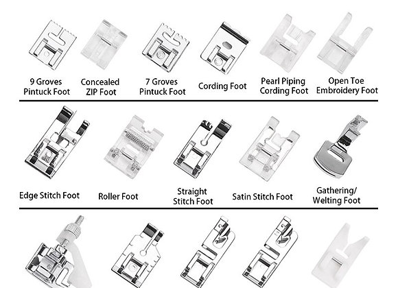 16pcs Sewing Machine Presser Feet Collection