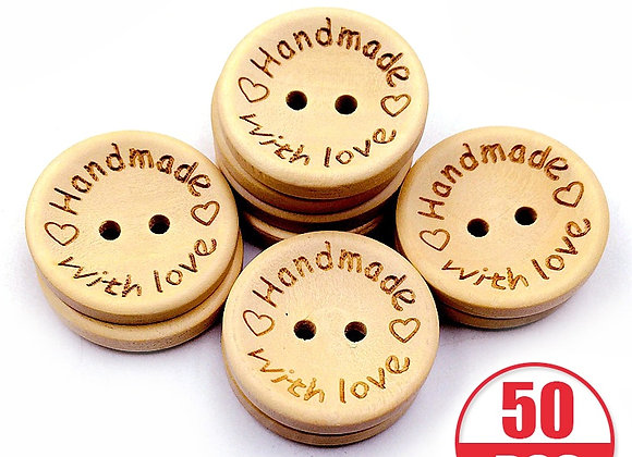 50pcs Natural Color Wooden Buttons Handmade with Love Letter Wood Button