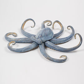 octopus, centerpiece, marine centerpiece, ocean, shore, sculpture, wall art, seashore, new england, marine sculpture, large sculpture, betsey rice, quonochontaug, rhode island artists, glazed porcelain