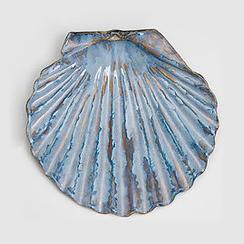 scallop shell, shell, scallop, blue, ocean, shore, sculpture, wall art, seashore, new england, marine sculpture, large sculpture, betsey rice, quonochontaug, rhode island artists