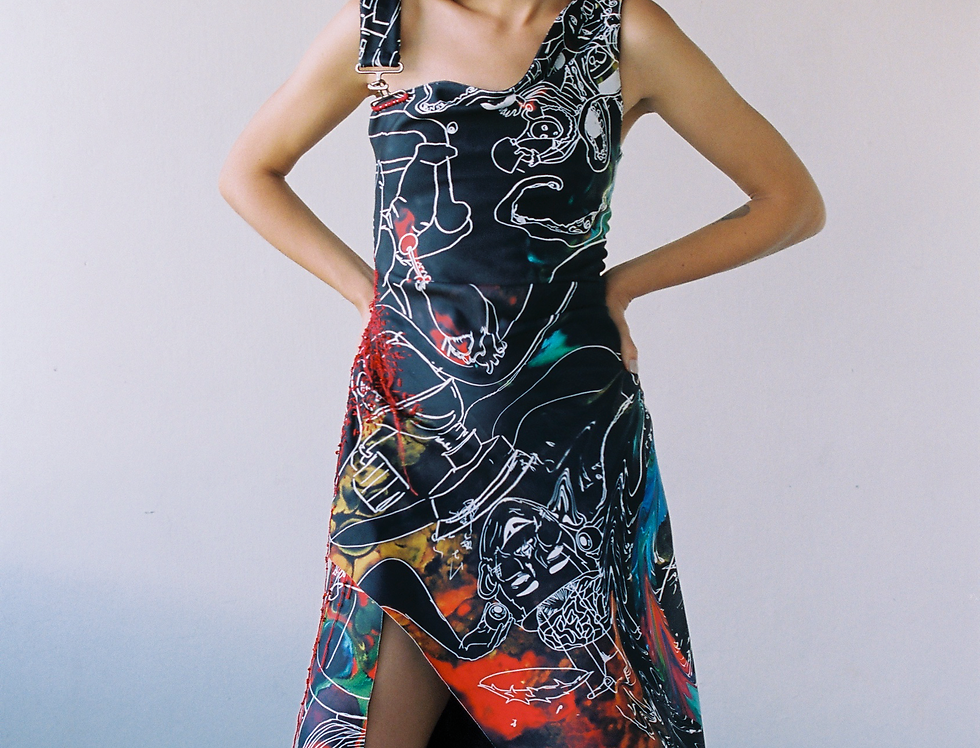 ONE.P DRESS SPACE TRAVEL PRINT