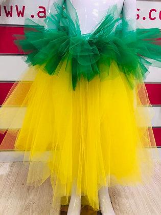 חצאית טול מהודרת צהוב ירוק