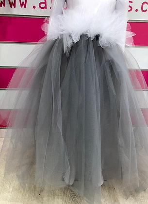 חצאית מהודרת אפורה בשילוב לבן
