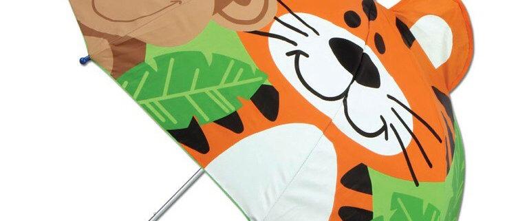 מטריה תלת ממד טיגריס וקוף