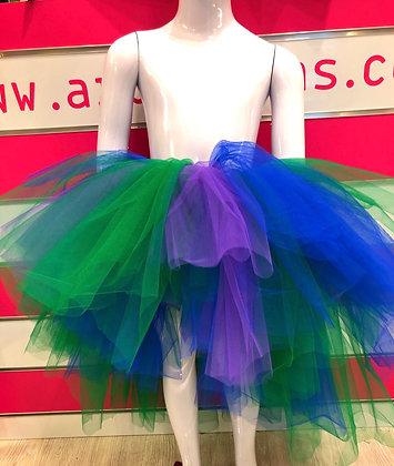 חצאית טול משולבת סגול,כחול וירוק