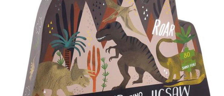 פאזל דינוזאור 80 חלקים עם עיטורים כסופים מנצנצים