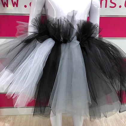 חצאית מהודרת שחור, אפור ולבן