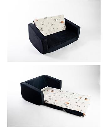 ספה לילדים בסיס שחור הדפס יער אפור