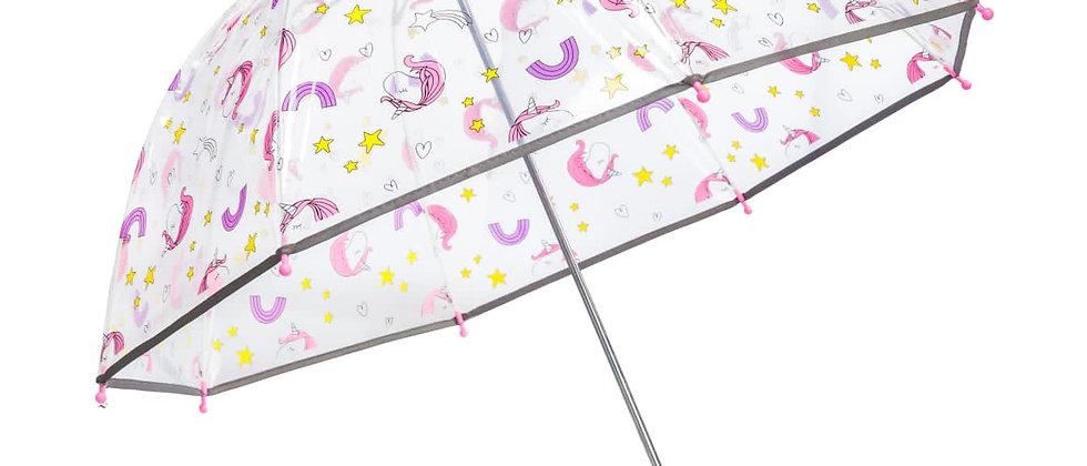 מטריה פטריה שקופה חד קרן גיל 5+