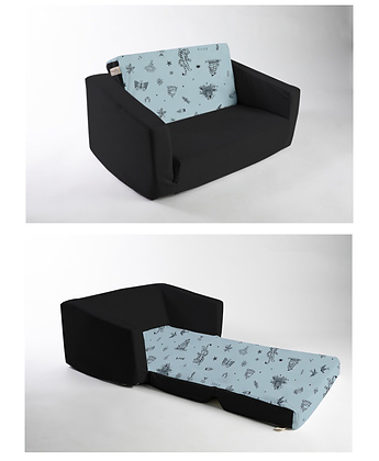 ספה לילדים שחור וכחול מעושן
