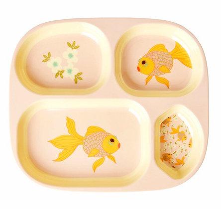 צלחת מחולקת דג זהב + כוס תואמת