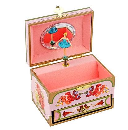 קופסת תכשיטים בלרינה פרחונית ורודה