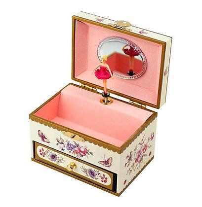 קופסת תכשיטים בלרינה פרחונית צהובה
