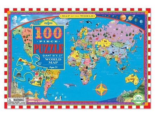 פאזל מפת העולם 100 חלקים