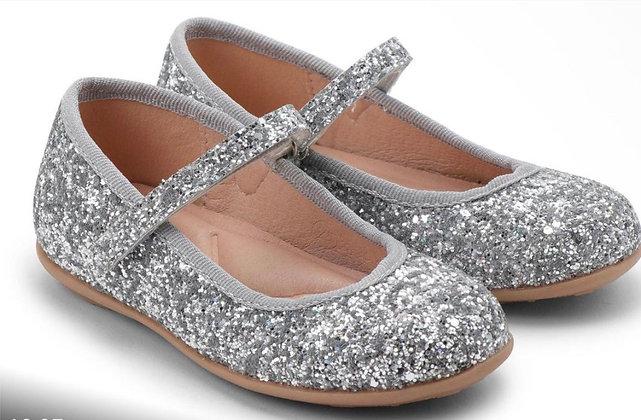 נעל בלרינה צבע כסוף מנצנץ