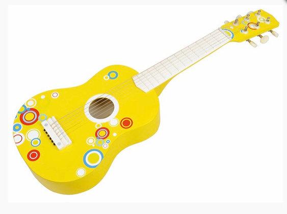 גיטרת עץ צהובה