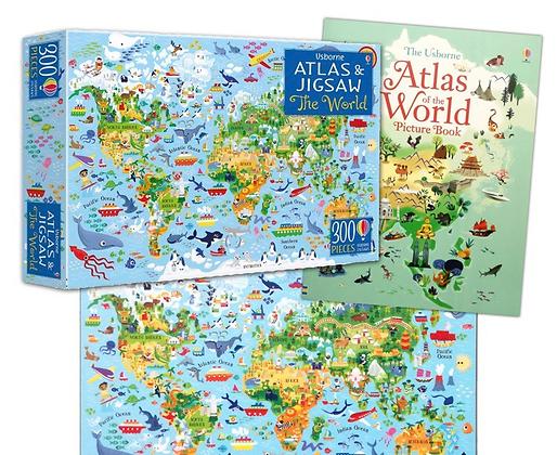 פאזל וספר מפת העולם 300 חלקים ואטלס