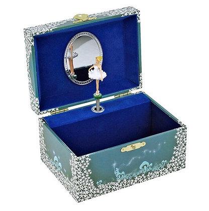 קופסת תכשיטים בלרינה כחולה מנגנת