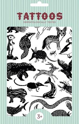 קעקועים חיות שחור לבן