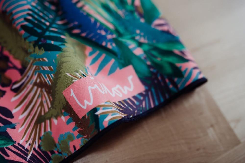 Kew Tropics Hot Pink Microfibre Towel by Willow Yoga