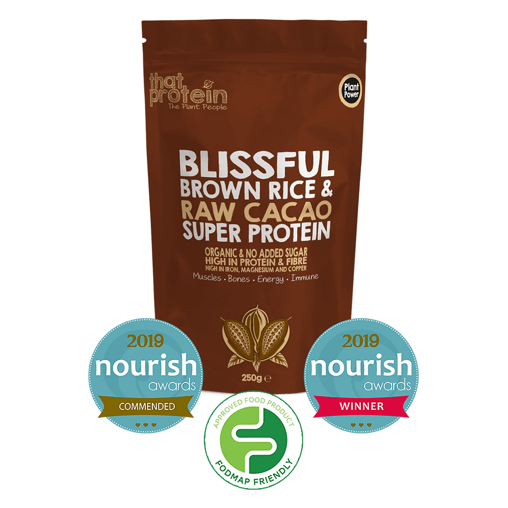 Blissful Brown Rice and Raw Cacao Super Protein Powder by That Protein Low FODMAP