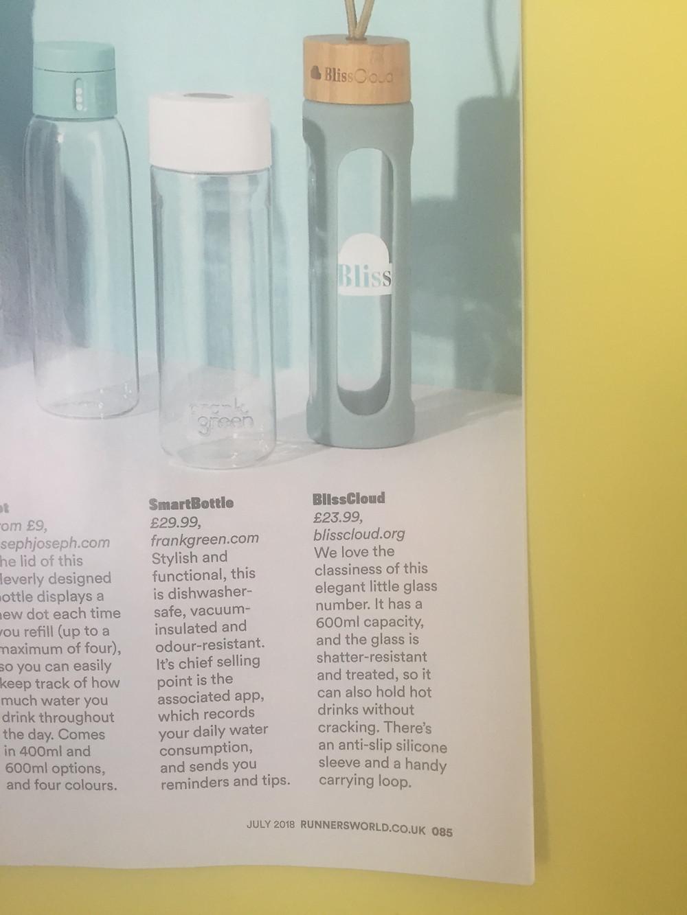 BlissCloud Eco Glass Water Bottle Review in Runner's World July 18 UK Magazine