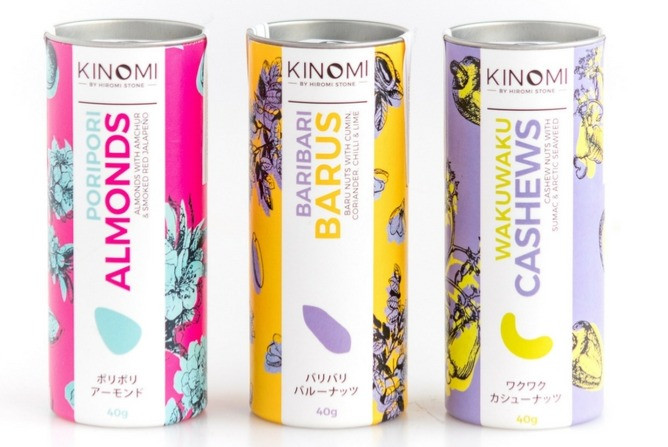 Kinomi Nuts: Amazing Next-Level Nuts, Intriguing Spices, Japanese Flavours. Crunchy Pori Pori Almonds, exciting Waku Waku Cashews and new Bari Bari Barus, each one a delicious distinct flavour, coated with the Kinomi soya glaze. A natural plant based protein source and a satisfying snack