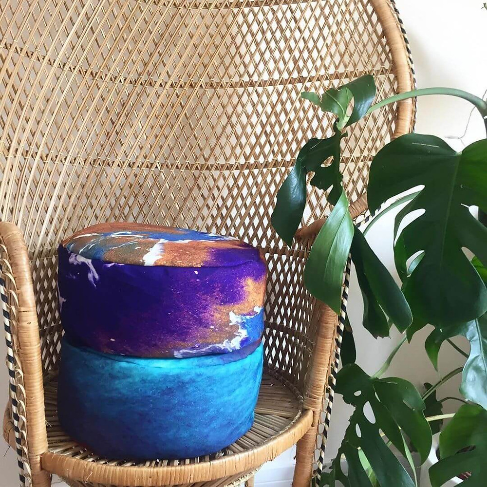 Meditation Cushions Every stitch, dye & inch of fabric is eco friendly and non toxic Each one a piece of art filled with 100% eco-friendly buckwheat