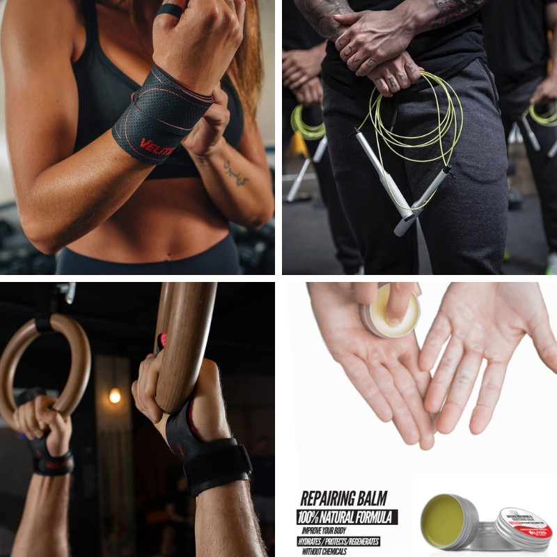 Competition ropes, protective hand grips & wrist wraps + body maintenance repair balms