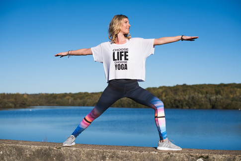 High-Waist Printed Leggings in Megawatt Colours & Patterns, Plus Slogan Tees by Blossom Yoga Wea