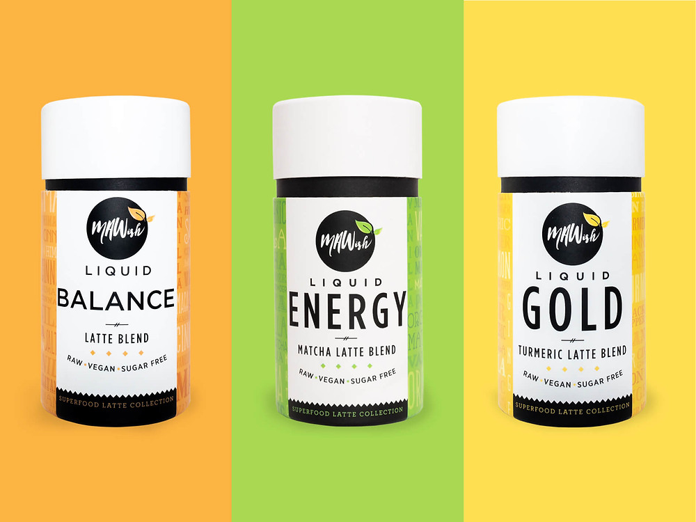 MAWish Food Raw, innocent and indulgent Vegan Superfood Latte Collection.