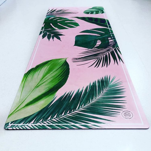 Rose Quartz, Marble + Palm Leaf Print Eco Yoga Mats by Grounded Factory