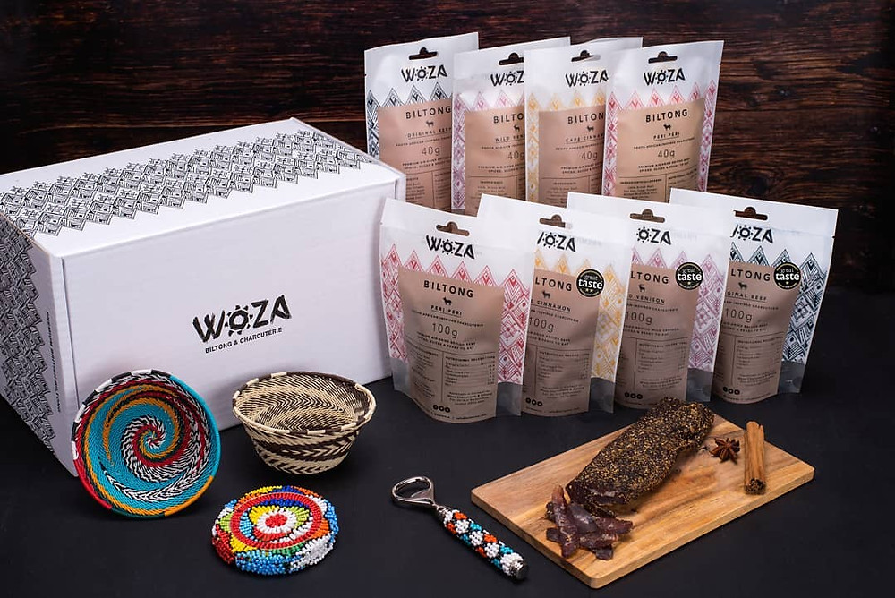 Woza Premium biltong & South African inspired charcuterie snacks, hand crafted from British beef