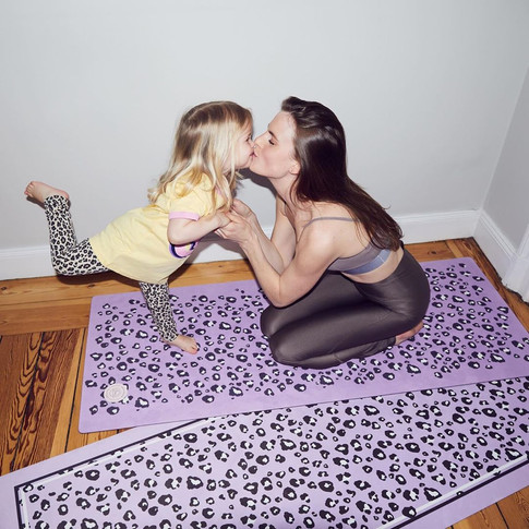 Leopard Print, Vegan Suede Yoga Mats for Adult and Kids by Grounded Factory