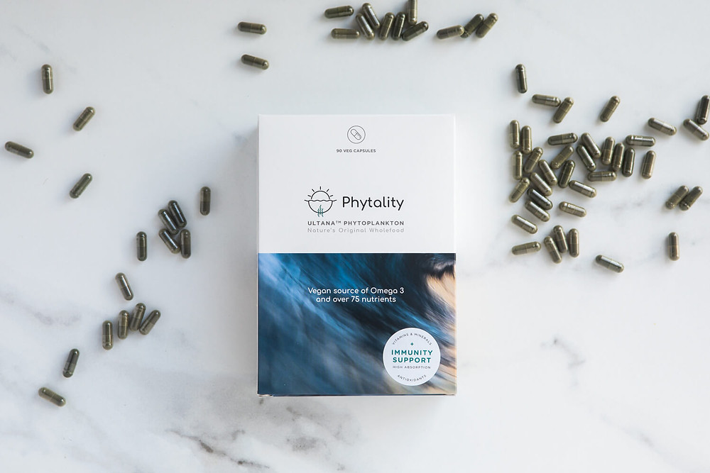 Ultana Phytoplankton by Phytality A vegan wholefood solution for your omega3 and nutritional needs. These multi-strain microalgae powders and capsules contain 100% pure, high quality phytoplankton, rich with over 75 essential nutrients for adding to smoothies or for taking with water and juice.