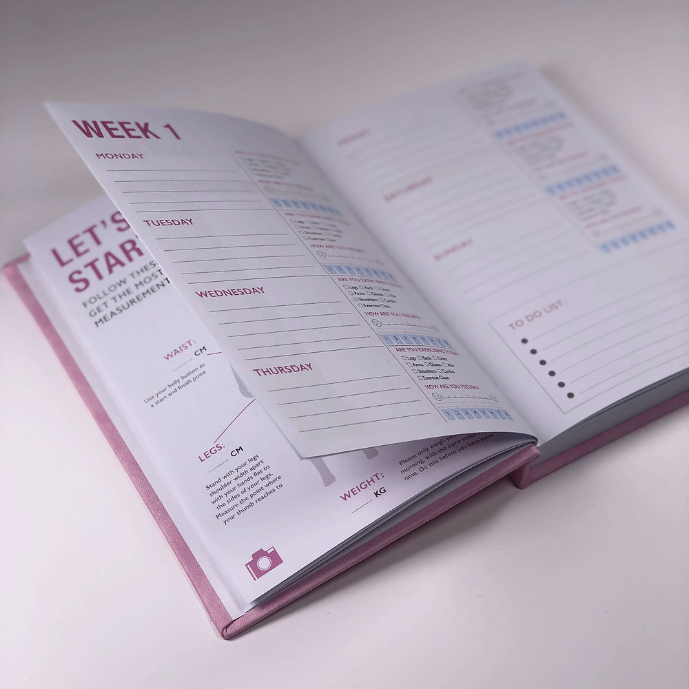 Two Minds Fitness Journal Motivational hardback 52-week journal designed to track your fitness and wellbeing goals and to help you benefit from seeing your progress measurements.